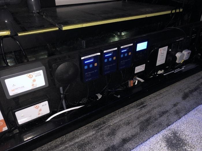 sound system below aquarium